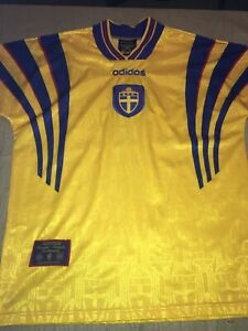 a62cb441256 Scarce 1996 Adidas M Sweden Mens World Cup Soccer Jersey Embroidered ...