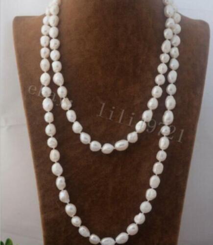 natürlich 10-12mm weißen Barock Süßwasser Perlenkette 140cm
