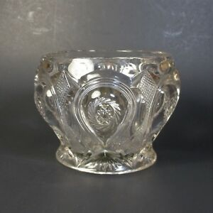 Vintage-Pressed-Glass-Rose-Bowl-Vase-with-Attached-Metal-Flower-Arranging-Frog