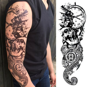 Détails Sur Tatouage Temporaire Bras Entier Manchette Crane Tête De Mort Faux Tattoo
