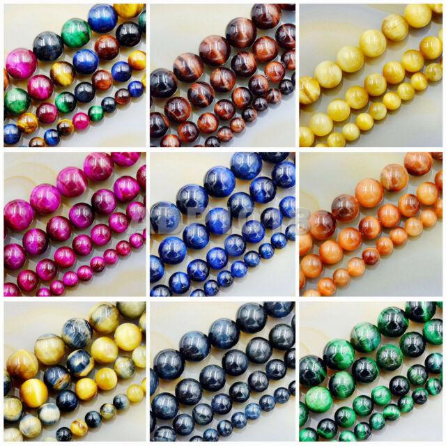 "10 Mm Naturel Coloré tiger/'s Eye Stone Round Bead Stretch Bracelet Bangle 7.5/"""