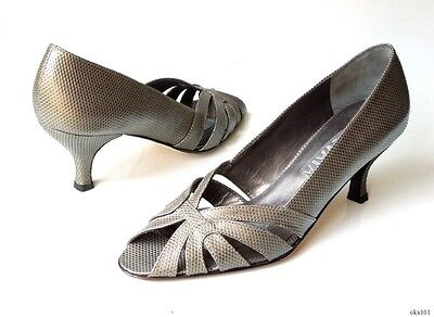 new $340 PREVATA 'Vaness' pewter lizard leather open-toe heels shoes - Italy