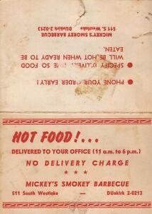 Vintage MICKEY'S SMOKEY BARBEQUE Restaurant Small Size Menu 1950 Los Angeles CA
