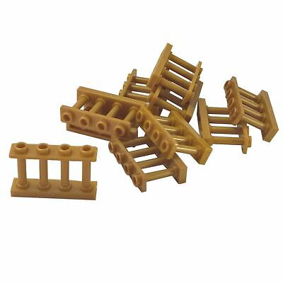 LEGO LOT OF 25 NEW REDDISH BROWN 1 X 4 X 2 SPINDLED FENCES PIECES WITH 4 STUDS