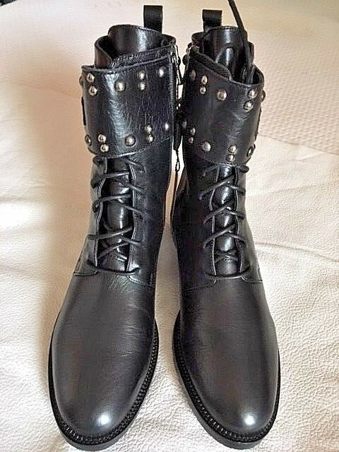FABIANELLI BLACK STUDDED LEATHER BOOTS ZIP & LACE UP US 9 NWT HAND CRAFTED ITALY
