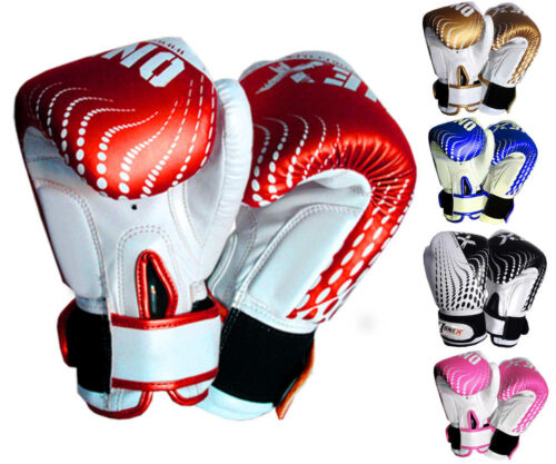 KidsLeather Boxing Gloves 6oz MMA Training Muay Thai Fight Punch Bag Sparring J7