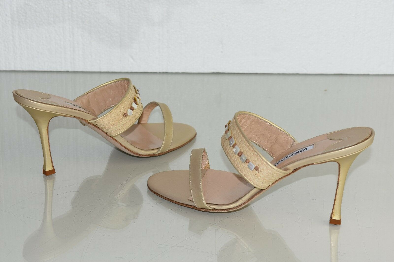 895 New MANOLO BLAHNIK Beige RAFFIA Nude Leather STRAW Jewel Sandals SHOES 40.5
