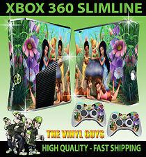 XBOX 360 SLIM STICKER TINKERBELL AND FRIENDS FAIRIES PIXIES SKIN & 2 PAD SKINS