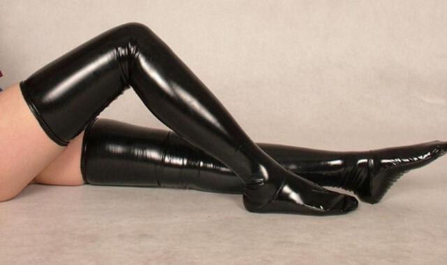 Sexy Black PVC Zentai costume long stockings SIZE S-XXL