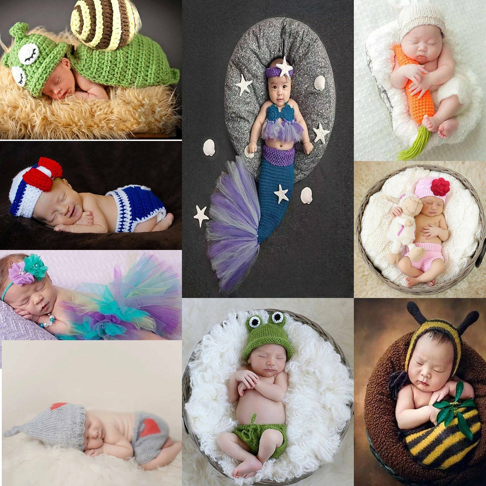 Newborn Baby Girl Boy Crochet Knit Costume Photography Prop Outfits Fisherman