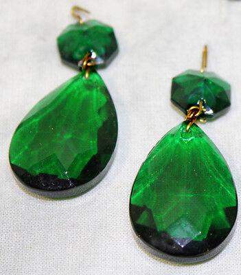 LOTof5 Vintage Emerald Green German glass Crystal Prism Lamp Chandelier Part Old