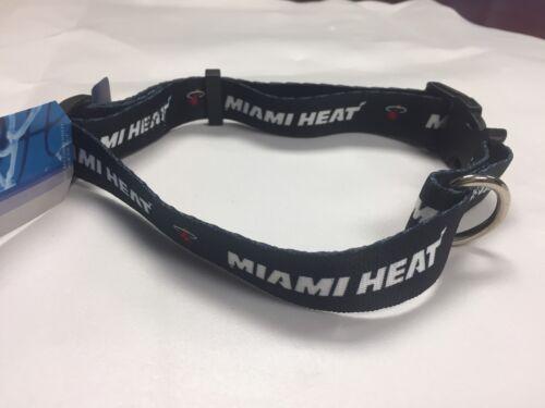 """Miami Heat Adjustable Nylon Web Dog Collar, Size Large (18"""" - 28""""), Ships Free"""