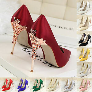 Sexy Women Party Shoes Stiletto Pointed-toe High Heels Satin Pumps ... 4b40baf1e824