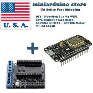 NodeMCU-ESP-12E-ESP8266-WiFi-LUA-CP2102-V2-and-motor-shield-L293D-DIY-robot-USA