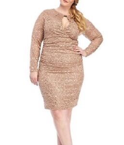 Details about MARINA® Plus Size 18W Sequin & Lace Keyhole Neck Dress NWT