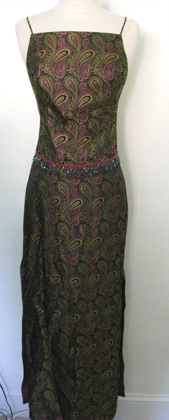 CACHE 2 Piece Paisley Print Skirt And Top With Beaded Waist Size 2