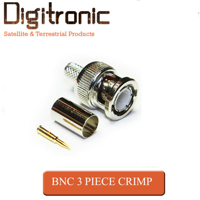 BNC Plug 3 Piece Suit RG58 RG59 Male Plug for CCTV Coax Cable Crimp Connectors