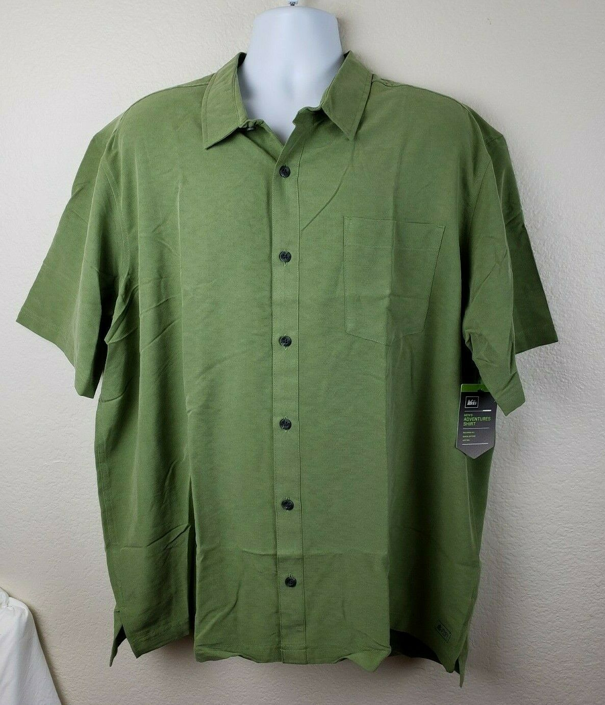 REI Button Up Men's shirt olive new with tags XXL 2XL Free Shipping