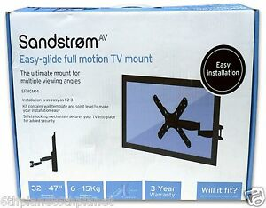 Sandstrom-SFMGM14-Full-Motion-Easy-Glide-32-47-034-TV-LCD-Wall-Mount-VESA-400x400mm