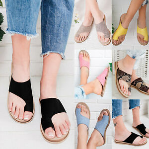 Women-Summer-Beach-Sandals-Comfy-Flat-Shoes-Slip-On-Slider-Bunion-Corrector-Size
