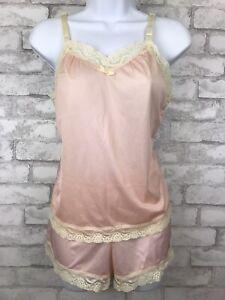 Vintage Undercover Wear PJ Set- Cami Tank & Sleep Shorts Pink Nylon Lace Size S