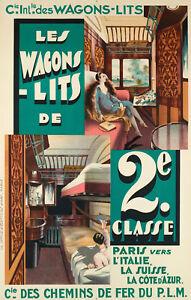 Affiche-originale-Art-Deco-Wagons-Lits-P-L-M-Lalique-Prou-1925