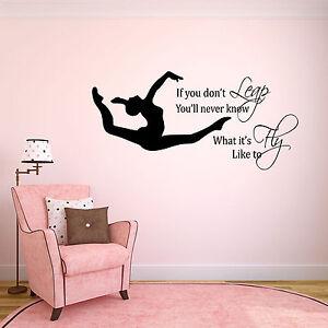 Fougueux Personnalisé Filles Gymnastique Wall Art Autocollant, Chambre à Coucher Mural Citation-afficher Le Titre D'origine