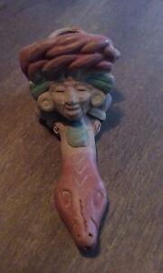 Details about Vintage Folk Art Clay Pipe Snake Charmer Basket