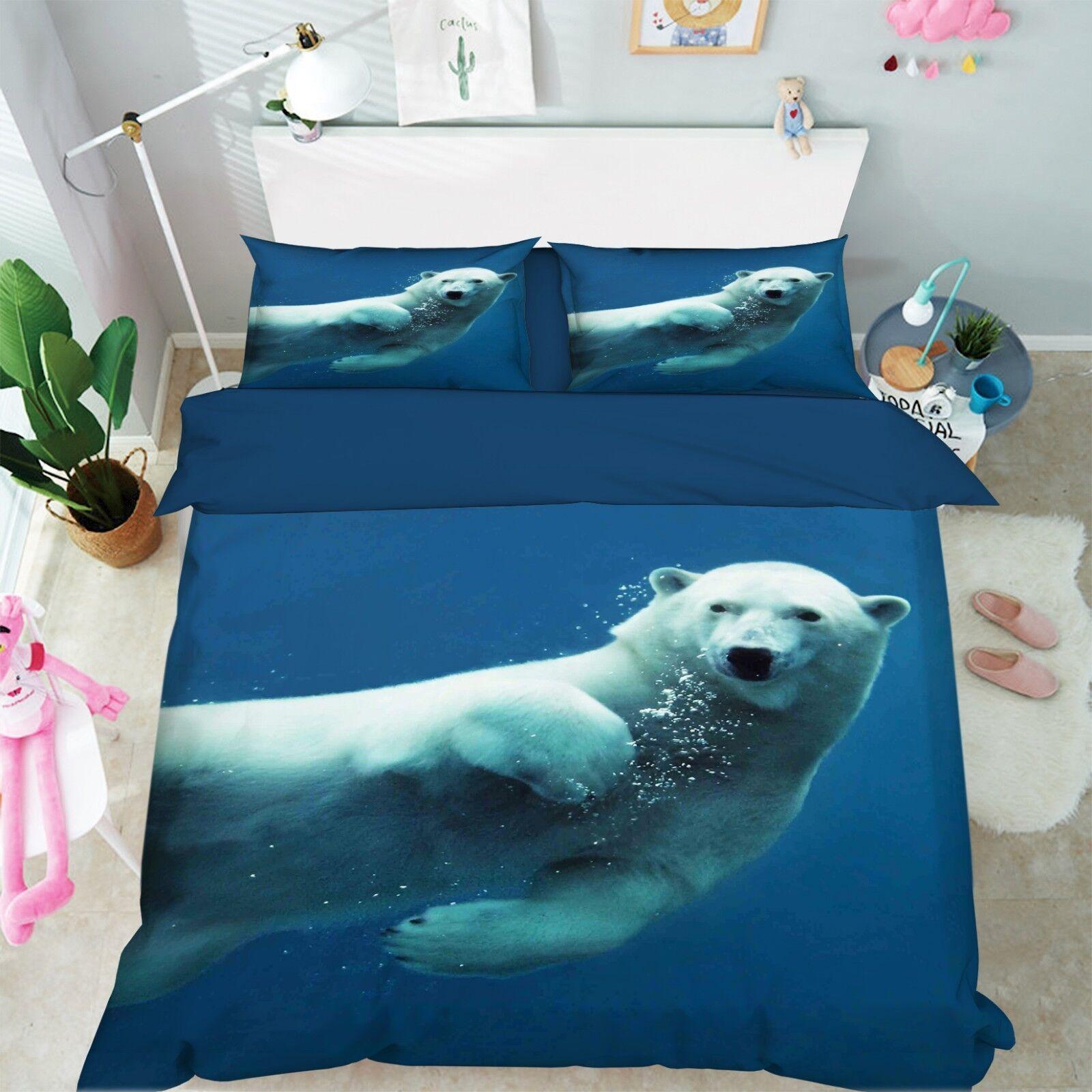 3D Polar Bear Sea 899 lit PilFaiblecass courtepointe couette Cover Set Single Queen roi CA