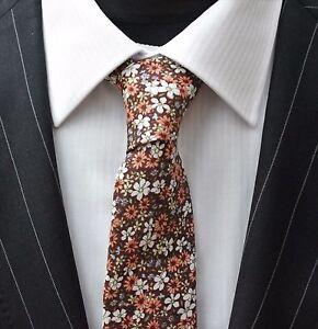 Hommes Cravate & Mouchoir Set Slim Marron Avec Motif Floral Qualité Coton Mta19-afficher Le Titre D'origine