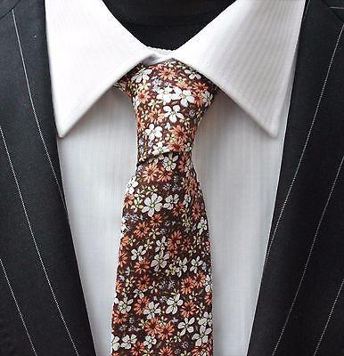 Uomo Cravatta & Fazzoletto Set Marrone Slim Con Qualità Floreale Cotone Mta19-mostra Il Titolo Originale Le Materie Prime Sono Disponibili Senza Restrizioni