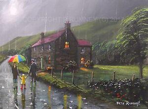 PETE-RUMNEY-FINE-ART-BUY-ORIGINAL-PAINTING-CANVAS-WALK-HOME-IN-THE-RAIN-FAMILY