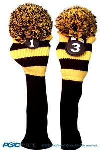 1-3-Classic-BLACK-YELLOW-KNIT-POM-golf-club-Headcover-pom-Head-covers-Set-colors