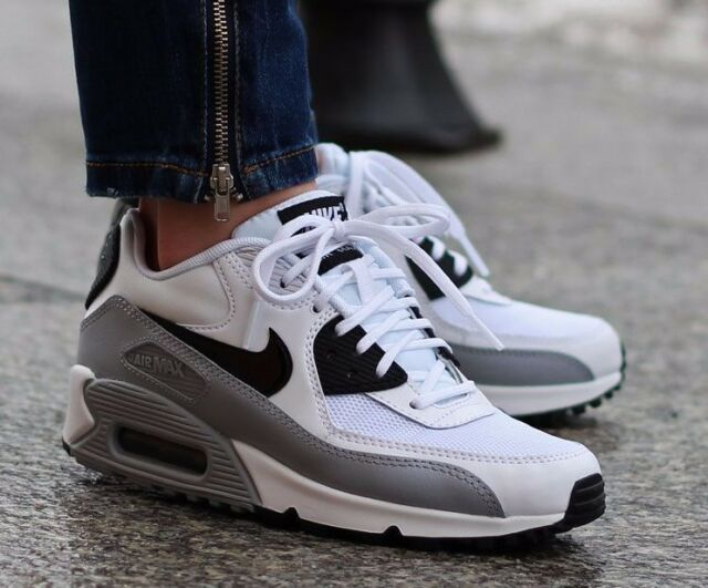 Details about NIKE AIR MAX 90 ESSENTIAL 616730 111 BLCK WHT WOLF GREY WOMEN'S RUNNING SHOES
