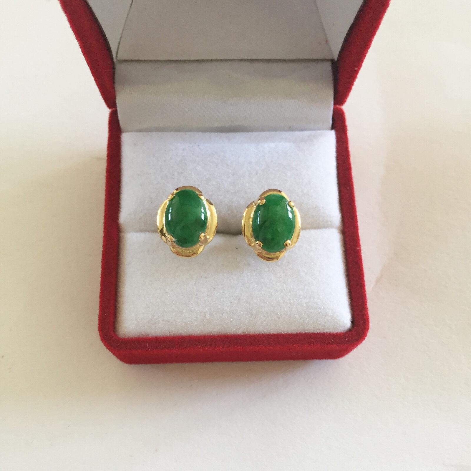 14K Yellow gold Jade Earrings - E112