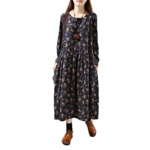 Ladies-Vintage-Linen-Cotton-Full-Length-Dress-Pleated-Flower-Printed-Long-Sleeve