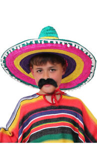 5bf65ddf4ad4 Image is loading CHILDS-MULTICOLOUR-SOMBRERO-HAT-KIDS-MEXICAN-WILD-WEST-