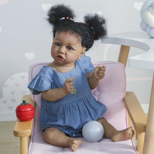 22 inch Full Body Silicone Reborn Toddler Doll Black Girl African American Doll