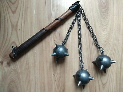 Older triple Mace Metal Spiked Ball Medieval Weapon Chain Wood Handle LARP  Decor | eBay