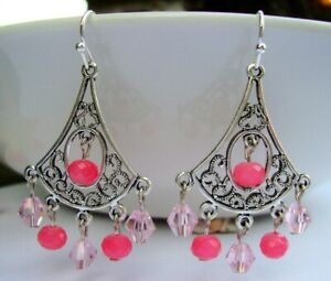 Sparkling-Pink-Crystal-Chandelier-Silver-Filigree-Earrings-USA-Handmade