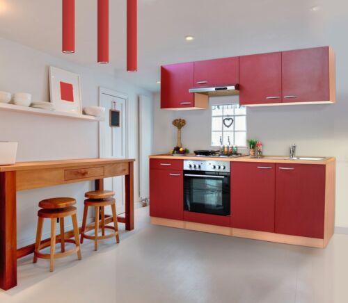 Küche Küchenzeile Küchenblock Einbauküche Komplettküche 210cm Buche rot respekta