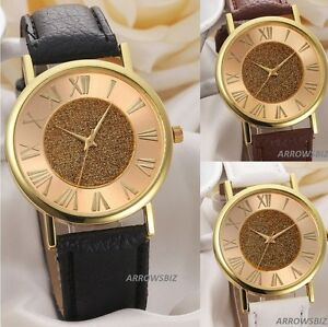 Golden-Roman-Dial-Sand-Starry-Fashion-Analog-Wrist-Watch-Leather-Strap