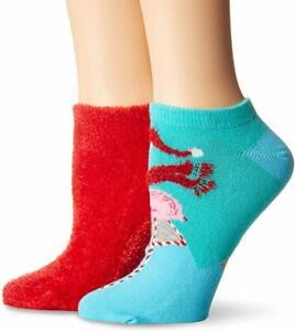 HUE Women/'s Footsie Ankle Sock Gift Box Set 2 Pair Per Pack NWT