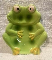 Cute Ceramic Chubby Smiling Green Frog Froggy Toad Ribbit Soap Dish / Holder