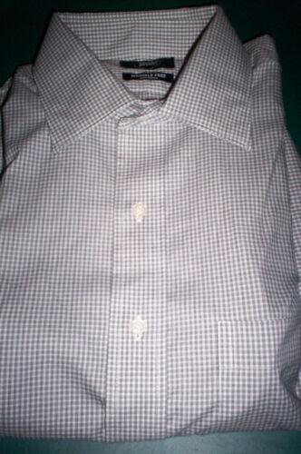 NEW BERKLEY JENSEN NO IRON SPREAD COLLAR DRESS SHIRT-BLACK//WHIT PLAID-15.5 32//33