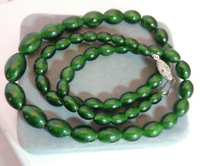 "Emerald Green Graduated Art Glass Oval Bead strand 24"" Necklace Ci 48"