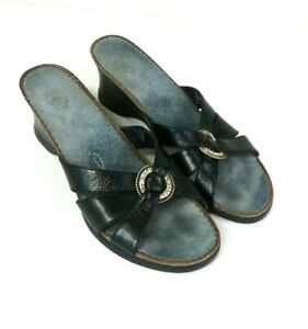 ARIAT-Womens-Sandals-Size-8-B-Black-Leather-Slip-On-Wedge-Shoes-20902