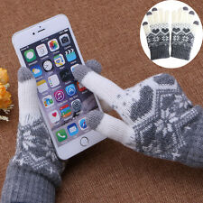 Women Girl Winter Warm Touch Screen Gloves Wool Stretch Snowflake Mittens b843e547259b