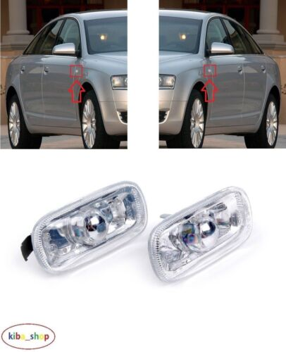 RIGHT AUDI A6 C6 2005-2011 2X NEW SIDE INDICATOR REPEATER CLEAR PAIR LEFT