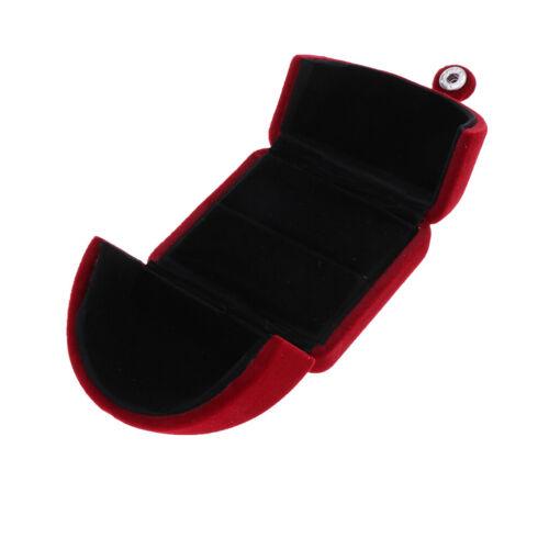 Wine Red Velvet Jewelry Gift Case Necklace Pendant Ring Bracelet Holder Box